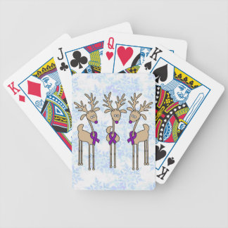 Purple Ribbon Reindeer - Alzheimer's Disease Bicycle Playing Cards