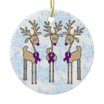 Purple Ribbon Reindeer - Alzheimer's Disease Ceramic Ornament