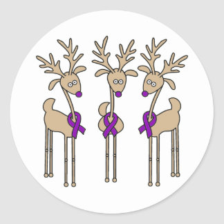 Purple Ribbon Reindeer - Alzheimer's Disease Classic Round Sticker
