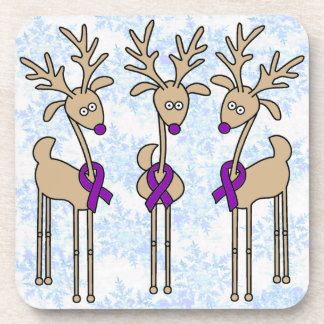 Purple Ribbon Reindeer - Alzheimer's Disease Drink Coaster