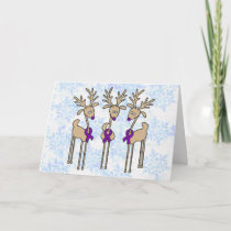 Purple Ribbon Reindeer - Alzheimer's Disease Holiday Card