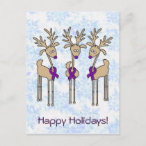 Purple Ribbon Reindeer - Alzheimer's Disease Holiday Postcard