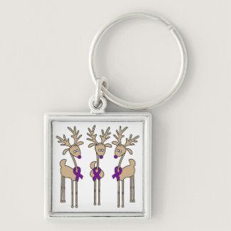 Purple Ribbon Reindeer - Alzheimer's Disease Keychain