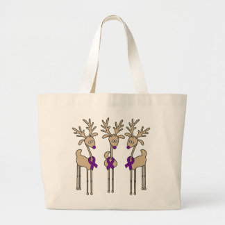 Purple Ribbon Reindeer - Alzheimer's Disease Large Tote Bag