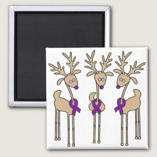 Purple Ribbon Reindeer - Alzheimer's Disease Magnet