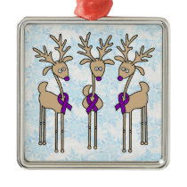 Purple Ribbon Reindeer - Alzheimer's Disease Metal Ornament