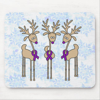 Purple Ribbon Reindeer - Alzheimer's Disease Mouse Pad
