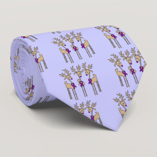 Purple Ribbon Reindeer - Alzheimer's Disease Neck Tie