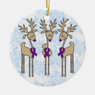Purple Ribbon Reindeer - Alzheimer's Disease Double-Sided Ceramic Round Christmas Ornament