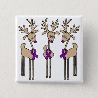 Purple Ribbon Reindeer - Alzheimer's Disease Pinback Button