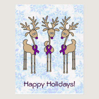 Purple Ribbon Reindeer - Alzheimer's Disease Postcard