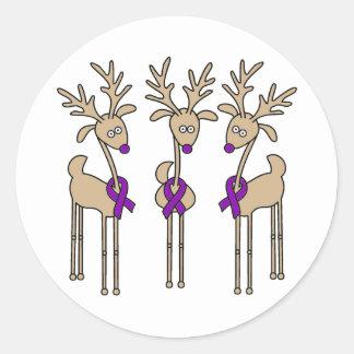 Purple Ribbon Reindeer - Alzheimer's Disease Classic Round Sticker