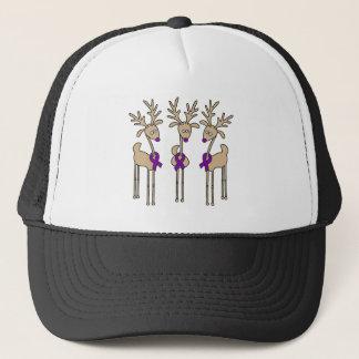 Purple Ribbon Reindeer - Alzheimer's Disease Trucker Hat