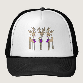 Purple Ribbon Reindeer - Alzheimer's Disease Trucker Hat