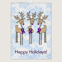 Purple Ribbon Reindeer (Crohn's & Colitis) Card