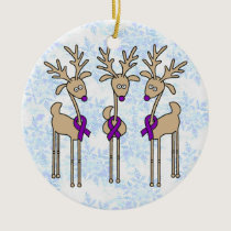 Purple Ribbon Reindeer (Crohn's & Colitis) Ceramic Ornament
