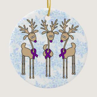 Purple Ribbon Reindeer (Crohn's & Colitis) Ceramic Ornament