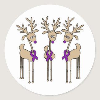Purple Ribbon Reindeer (Crohn's & Colitis) Classic Round Sticker