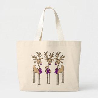 Purple Ribbon Reindeer (Crohn's & Colitis) Large Tote Bag