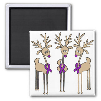 Purple Ribbon Reindeer (Crohn's & Colitis) Fridge Magnets