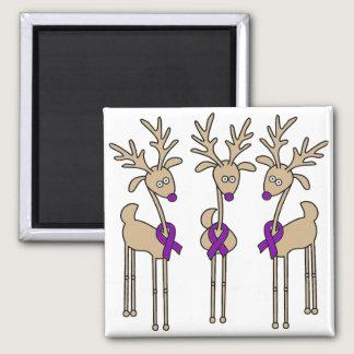 Purple Ribbon Reindeer (Crohn's & Colitis) Magnet