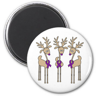 Purple Ribbon Reindeer (Crohn's & Colitis) Refrigerator Magnets