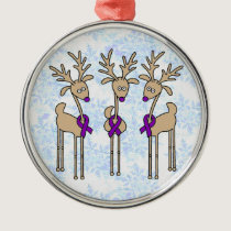 Purple Ribbon Reindeer (Crohn's & Colitis) Metal Ornament