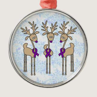 Purple Ribbon Reindeer (Crohn's & Colitis) Metal Ornament