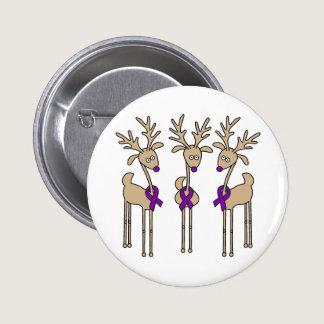Purple Ribbon Reindeer (Crohn's & Colitis) Pinback Button