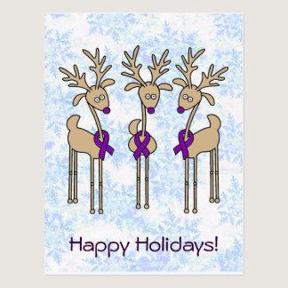 Purple Ribbon Reindeer (Crohn's & Colitis) Postcard