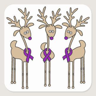 Purple Ribbon Reindeer (Crohn's & Colitis) Square Sticker