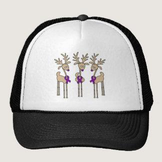 Purple Ribbon Reindeer (Crohn's & Colitis) Trucker Hat