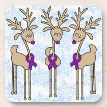 Purple Ribbon Reindeer - Crohn's Disease & Colitis Beverage Coaster