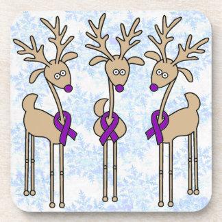 Purple Ribbon Reindeer - Crohn's Disease & Colitis Beverage Coaster