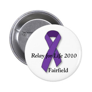 purple ribbon, Relay for Life 2010, Fairfield Pinback Button