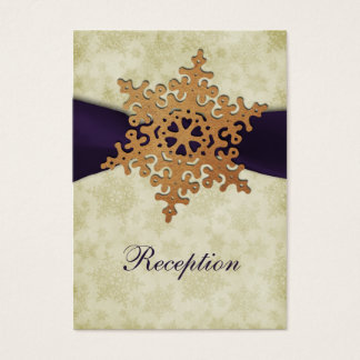 purple ribbon, rustic snowflake business card