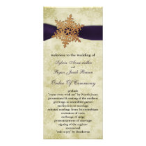 purple ribbon, rustic snowflake rack card