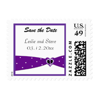 Purple Ribbon Save the Date Postage