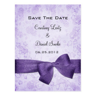 Purple Ribbon Save The Date Postcards