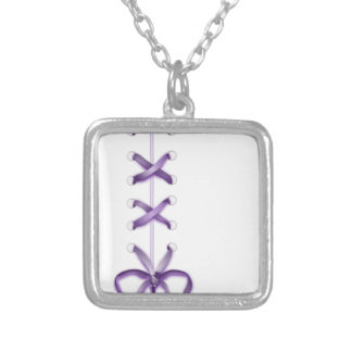 Purple Ribbon Silver Plated Necklace