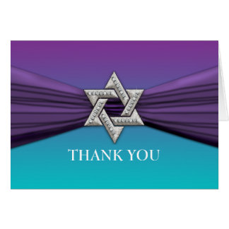 Purple Ribbon Silver Star of David Cards