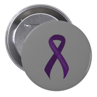 Purple Ribbon Support Awareness Pinback Button