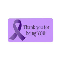Purple Ribbon THANK YOU labels