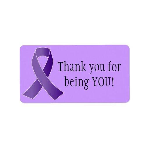 Purple Ribbon THANK YOU labels