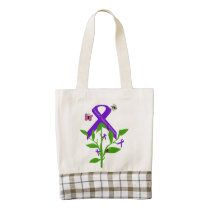 Purple Ribbon Tote bag Domestic Violence Awareness