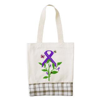 Purple Ribbon Tote bag Domestic Violence Awareness