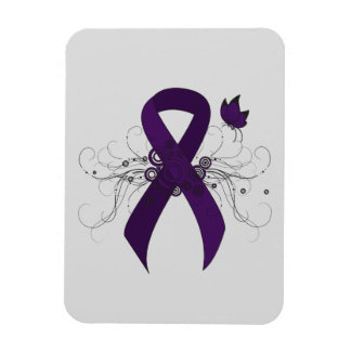 Purple Ribbon with Butterfly Rectangular Photo Magnet