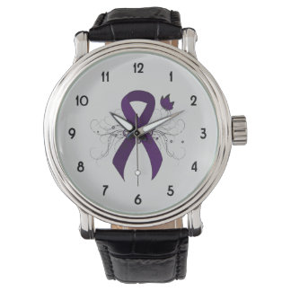 Purple Ribbon with Butterfly Wrist Watch