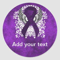 Purple Ribbon with Wings Classic Round Sticker