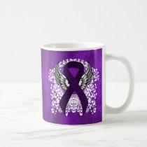 Purple Ribbon with Wings Coffee Mug